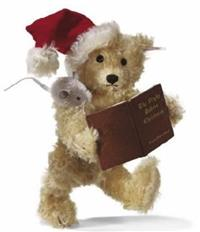 Steiff The Night Before Christmas Teddy Bear. Mohair mouse (suede ears) on Shoulder, Book, Box, Certificate, LE 2005