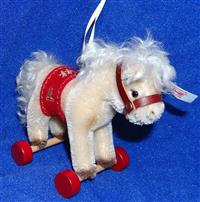 Steiff Christmas Horse on Wheels Ornament